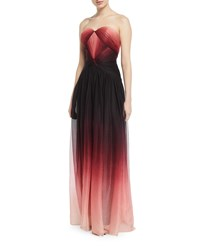 Pamella Roland Strapless Sweetheart Ombre Chiffon Gown Black Pattern