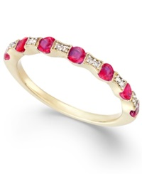 Macy's Ruby 5 8 Ct. T.W. And Diamond Accent Band In 14K Gold Yellow Gold