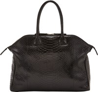 Zagliani Python Tomodachi Small Bowling Bag Black