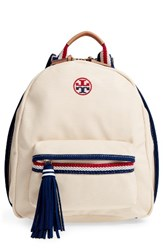 Tory Burch Preppy Canvas Backpack Beige Natural