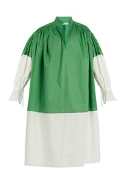 Vika Gazinskaya Bi Colour Cotton Poplin Dress Green White