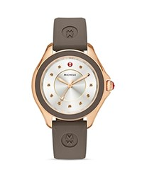 Michele Cape Topaz Studded Silicone Watch 40Mm Silver