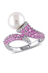 Sterling Silver 8 8.5Mm White Freshwater Pearl Created Sapphire And Diamond Ring Pink