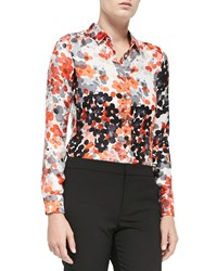 Red Valentino Long Sleeve Abstract Flower Blouse Orange