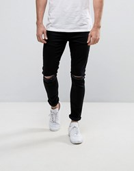 Yourturn Skinny Jeans With Knee Rips In Black Black