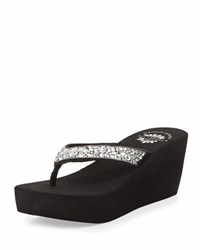 Premium Collection By Yellow Box Widjaja Crystal Wedge Thong Sandal Clear Black