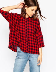 Asos Crinkle Oversize Shirt In Red And Blue Gingham Multi
