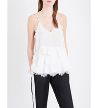 The Kooples Tiered Lace Trimmed Silk Top Ecr01