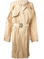 Jean Paul Gaultier Vintage Pleated Light Coat Nude And Neutrals