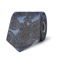 Dries Van Noten Paisley Patterned Silk Jacquard Tie Light Blue