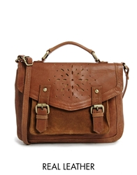 Asos Leather Satchel Bag With Floral Punch Out Tan