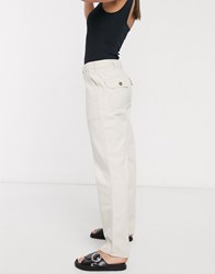 Only Straight Leg Jeans With Pocket Detail In Ecru Cream