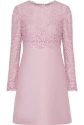 Valentino Layered Cotton Blend Corded Lace And Wool And Silk Blend Mini Dress Lilac