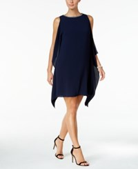 Vince Camuto Embellished Side Ruffle Dress Navy