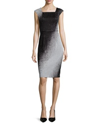 Yoana Baraschi Cap Sleeve Mirage Ombre Sheath Dress Pearl Gray Black