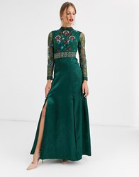 Frock And Frill Embroidered Long Sleeve Maxi Dress Green