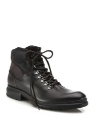 Salvatore Ferragamo Leather Lace Up Boots Brown