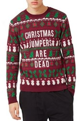 Topman Christmas Jumpers Are Dead Sweater Purple