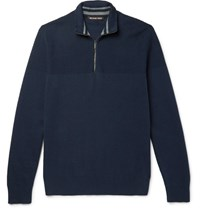 Michael Kors Honeycomb Knit Cotton Blend Half Zip Sweater Navy