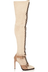 Emilio Pucci Suede And Ostrich Thigh Boots Nude