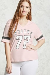 Forever 21 Plus Size Peachy 72 Graphic Tee Pink Black