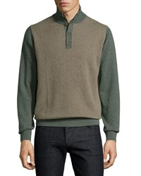 Luciano Barbera Cashmere Herringbone Sweater Green Multi