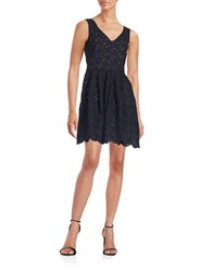 Karl Lagerfeld Eyelet Fit And Flare Dress Marine Noir