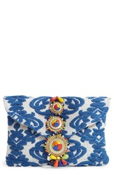 Steve Madden Steven By Beaded And Embroidered Clutch Blue