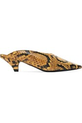 Proenza Schouler Snake Effect Leather Mules Snake Print