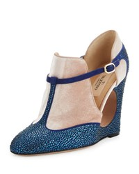 Valentino Beaded Suede Cutout Wedge B02