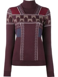 Peter Pilotto Geometric Turtleneck Jumper Pink And Purple
