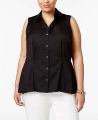 Charter Club Plus Size Peplum Shirt Only At Macy's Deep Black