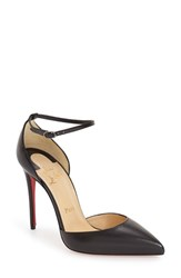 Women's Christian Louboutin 'Uptown' Ankle Strap Pointy Toe Pump Black Leather
