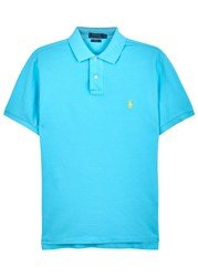 Polo Ralph Lauren Aqua Slim Pique Cotton Shirt Light Blue