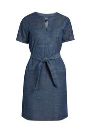 A.P.C. Jess Cotton Chambray Dress Indigo