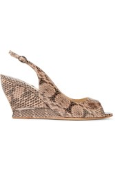 Paul Andrew Julia Elaphe Wedge Sandals Snake Print Beige