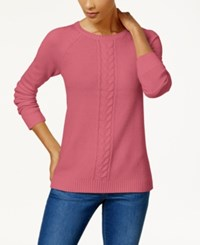 Karen Scott Cotton Cable Knit Sweater Created For Macy's Pink Orchid