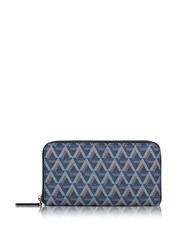 Lancaster Paris Ikon Coated Canvas And Leather Zip Around Continental Wallet Blue