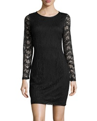 Marc New York By Andrew Marc Lace Dress With Faux Leather Trim Black