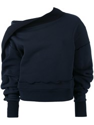 Burberry Puff Sleeve Sweater Women Cotton Polyester M Blue