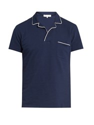 Orlebar Brown Donal Cotton Pique Polo Shirt Navy White