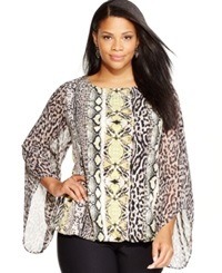 Alfani Plus Size Animal Print Blouson Top Safari Chic