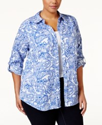 Charter Club Plus Size Paisley Button Down Shirt Only At Macy's Blazing Blue Combo