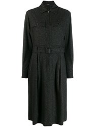Joseph Boucle Belted Dress Black