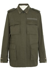 Valentino Studded Cotton Gabardine Jacket Army Green