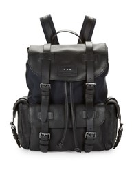 John Varvatos Leather Buckled Backpack Navy