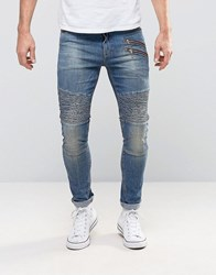 Asos Super Skinny Jeans With Double Zip And Biker Details In Mid Blue Wash Mid Blue