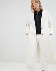 D.Ra Elia Collarless Longline Duster Coat Cream