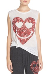 Lauren Moshi 'Riley' Graphic Muscle Tank White