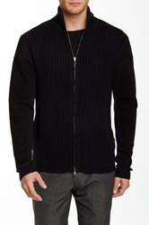 John Varvatos Cable Knit Suede Trim Zip Sweater Black